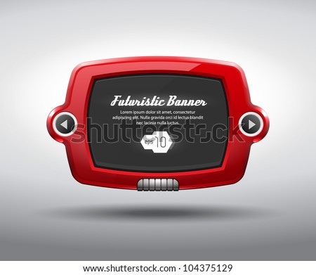 Red Glossy Slider Pad Futuristic Device Abstract Vector TV Display , Banner Web Design Elements Black EPS10 - stock vector