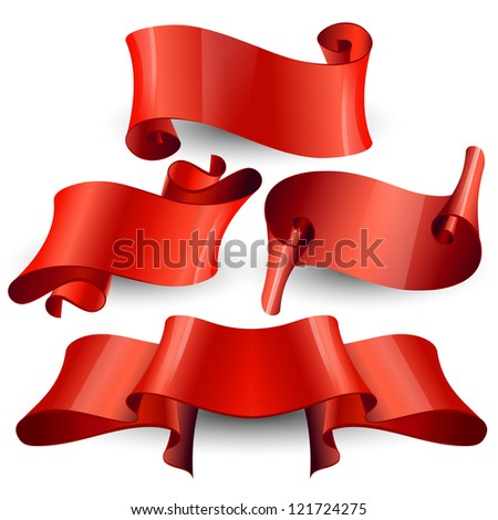 Red Glossy vector ribbons on a transparent background for your design project - stock vector