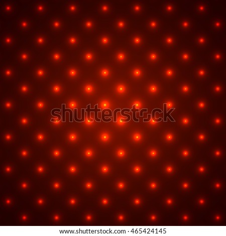 Red glowing dotted background. Vector illustration.