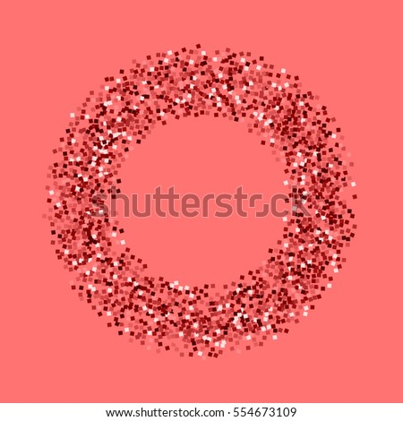 Red gold glitter. Bagel shape with red gold glitter on pink background. Vector illustration.