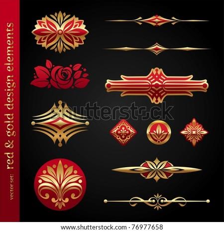 Red & gold luxury vector design elements - stock vector