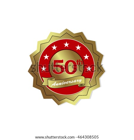 red golden anniversary logo vector