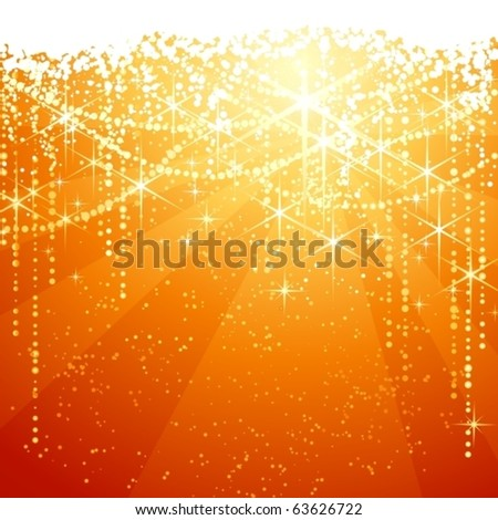 Red golden background with sparkling stars for festive occasions. Great as Christmas or New years background. - stock vector