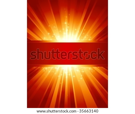 Red golden light burst with sparkling stars and space for your message. 1 linear gradient, 7 global colors for easy change of color scheme. Artwork grouped and layered.