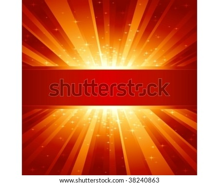 Red golden light burst with sparkling stars and space for your message. 1 linear gradient, 7 global colors for easy change of color scheme. Artwork grouped and layered. - stock vector