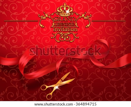 Red grand opening invitation card with scissors and red ribbon - stock vector