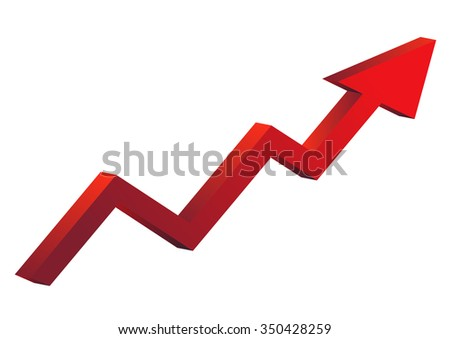red graph increase ,  growth. vector illustration