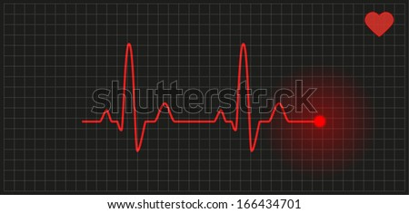 red graph with heart rate on black background - stock vector