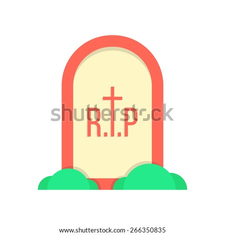 red grave icon with bushes. concept of decoration, october holiday, fear, horrendous, end of life journey. isolated on white background. flat style trendy modern logo design eps10 vector illustration - stock vector