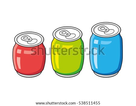Red, green and blue beer, cola or soda soft drink cans isolated.