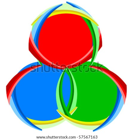 Red green and blue color brush with limbs - stock vector