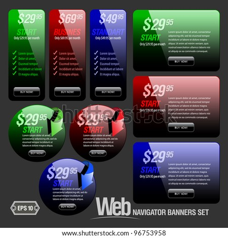 red, green and blue glossy banners set different sizes and forms - stock vector