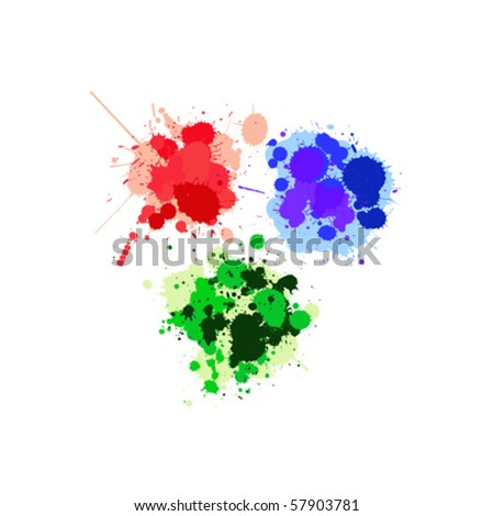Red, green and blue splats over white background - stock vector
