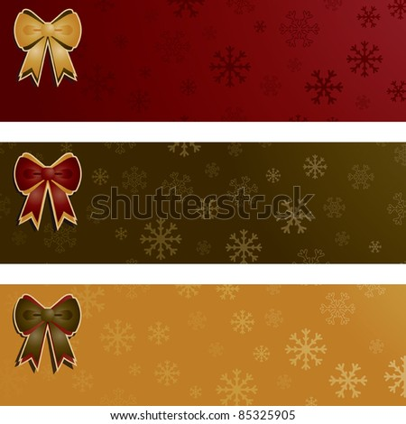 red, green and gold seasonal snowflake banners with bows