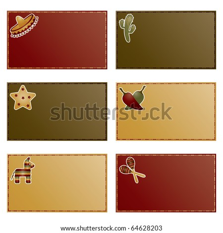 red, green and yellow note cards with mexican motifs ready for text - stock vector