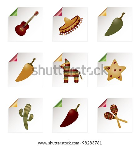 red, green and yellow paper curl icons with mexican motifs - stock vector