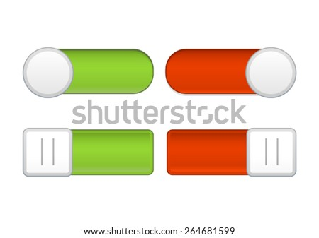 Red/Green On/Off Sliders on White Background - stock vector