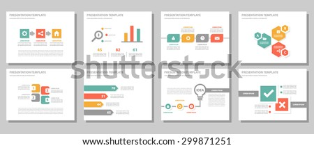 Red green orange Multipurpose Presentation template brochure flyer flat design set for marketing and advertising 1 - stock vector