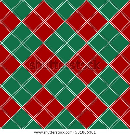Red Green White Chess Board Christmas Background Vector Illustration