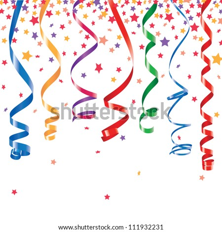 Red, green, yellow, blue shiny curling ribbons or party serpentine with stellar confetti - stock vector