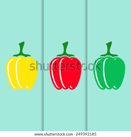 Red green yellow vector sweet pepper icons - stock vector