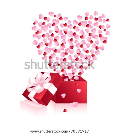 Red greeting box and heart from petals of roses isolated on the white background. Vector illustration. - stock vector