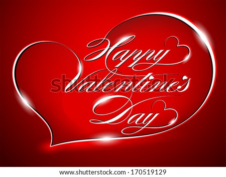 Red Greeting Card - Happy Valentine's Day, vector