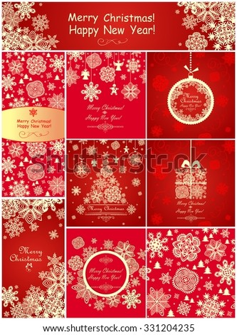 Red greetings for winter holiday - stock vector