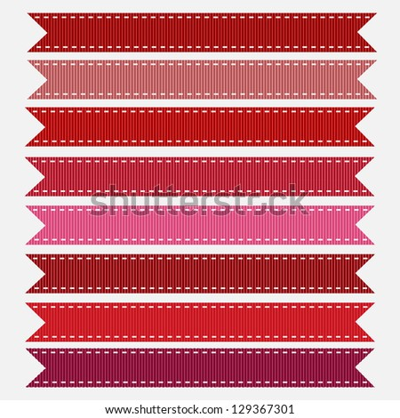 Red Grosgrain Ribbon, Vector. Also see other color sets. - stock vector