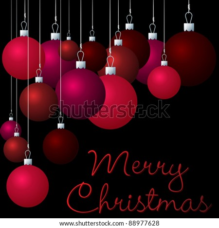 Red group of Christmas baubles in vector format. - stock vector