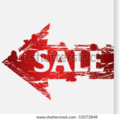 Red grunge arrow with text sale - stock vector
