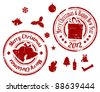 Red Grunge Christmas Vector stamps on white background - stock vector