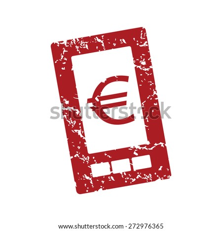 Red grunge euro phone logo on a white background. Vector illustration - stock vector