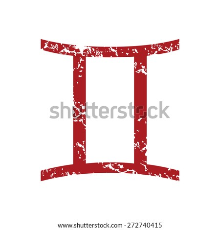 Red grunge Gemini logo on a white background. Vector illustration - stock vector