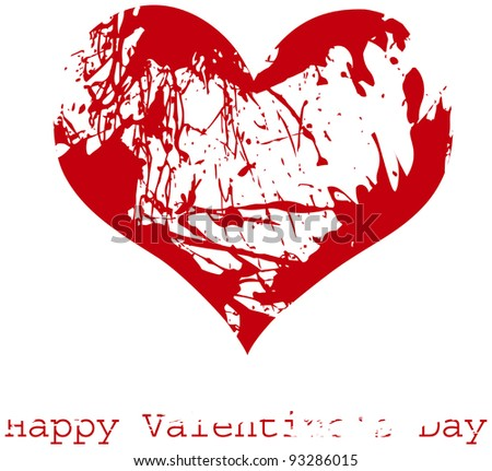 Red grunge heart, vector, Happy Valentine's Day - stock vector