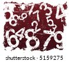 Red Grunge Illustration with Acid Etched Numbers (Layered Vector) - stock vector