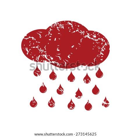 Red grunge rain logo on a white background. Vector illustration - stock vector