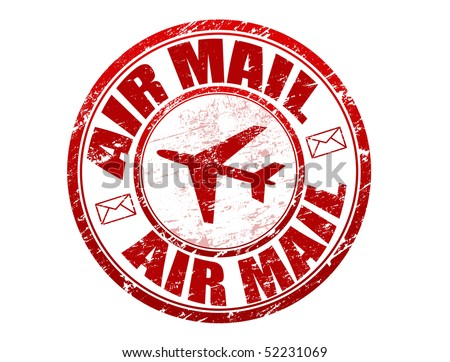 Red grunge rubber stamp with plane shape and and the text  air mail written inside the stamp - stock vector