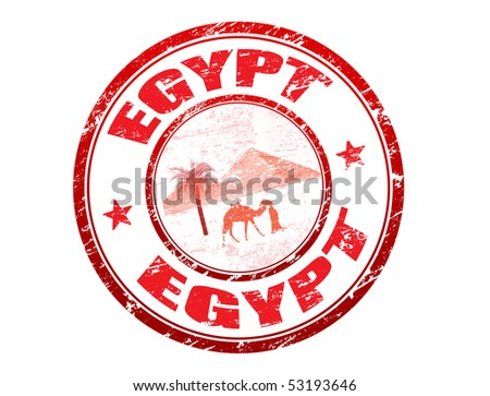 Red grunge rubber stamp with pyramid, camel and bedouin shapes and the name of Egypt written inside the stamp - stock vector