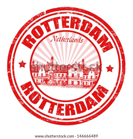 Red grunge rubber stamp with the name of Rotterdam city from Netherlands written inside the stamp
