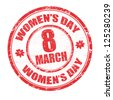Red grunge rubber stamp with the text women's day written inside, vector illustration - stock vector