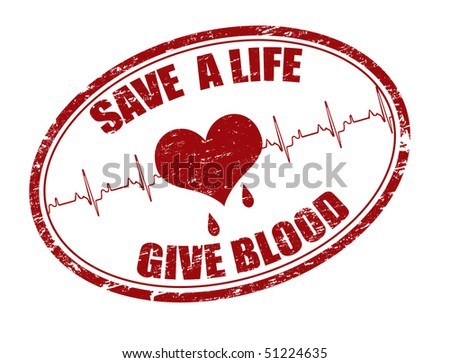 Red grunge  stamp with heart, heartbeat and the text save a life give blood written inside the stamp - stock vector