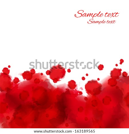 Red grunge watercolor paint spots on a white background. Blood stains. Border. Space for text -  vector