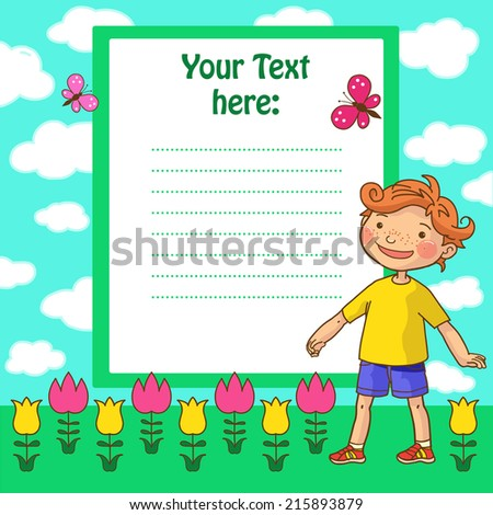 Red hair BOY placard. Children Sport isolated objects on green background. Great illustration for a school books and more. VECTOR. Editorial. Education. Advertising. Board.