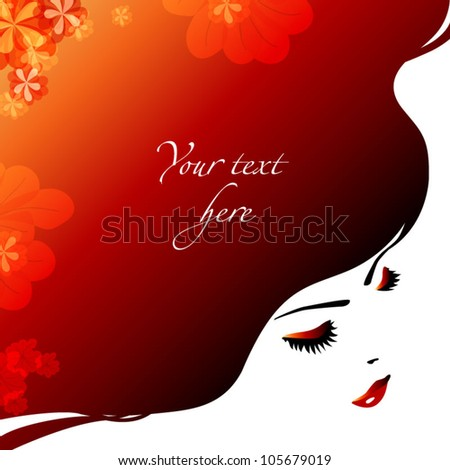 red hair girl background - stock vector
