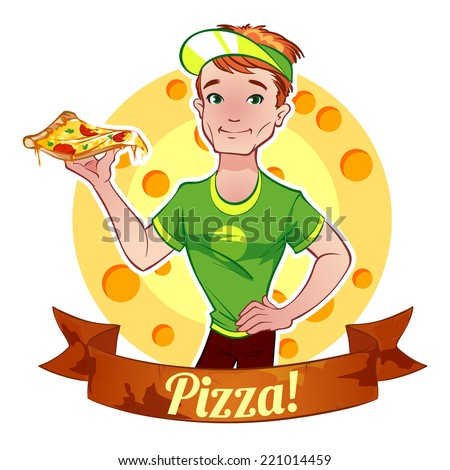 Red-haired boy with pizza - stock vector