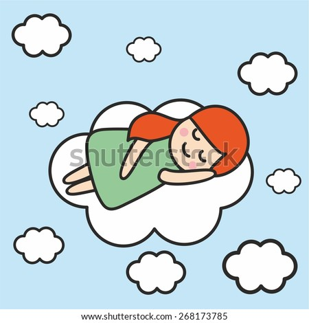 Red-haired little girl sleeping on a cloud. - stock vector