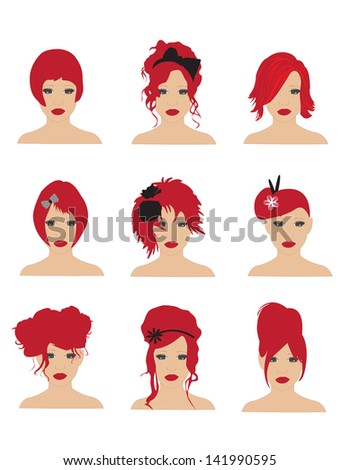 Red hairstyles - stock vector
