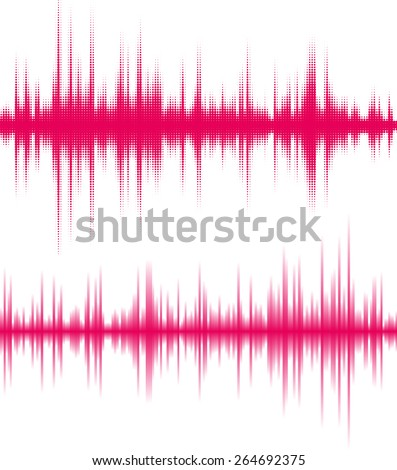 Red halftone sound wave. - stock vector