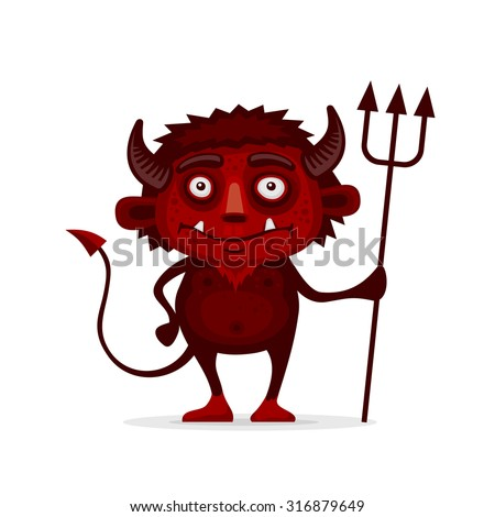 Red Halloween Devil with Trident in Cartoon Style. Vector - stock vector